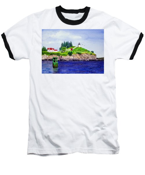 Owls Head Lighthouse Baseball T-Shirt by Mike Robles