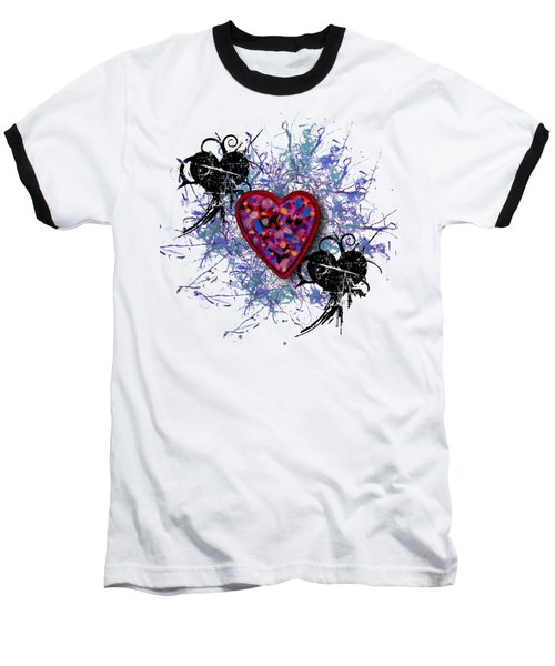 Painted Heart 3 Baseball T-Shirt by Christine Perry