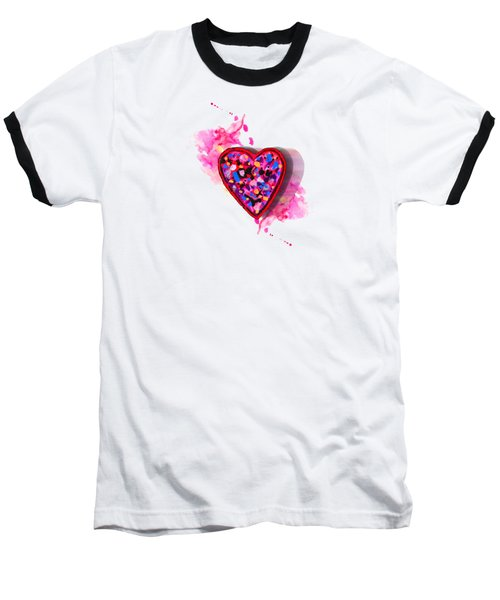 Painted Heart Baseball T-Shirt by Christine Perry