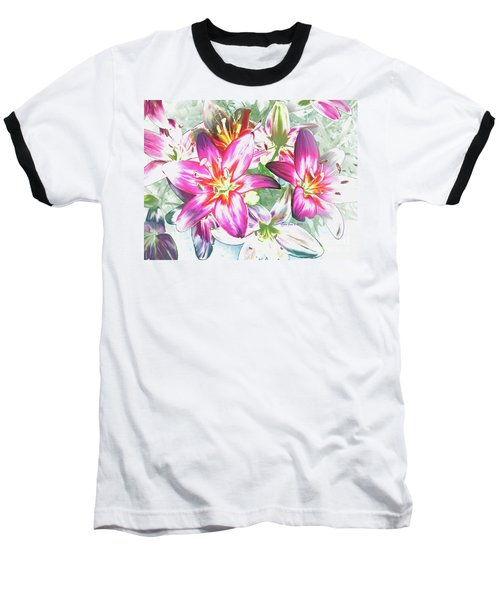 Baseball T-Shirt featuring the painting Painterly Pink Tiger Lilies by Annie Zeno