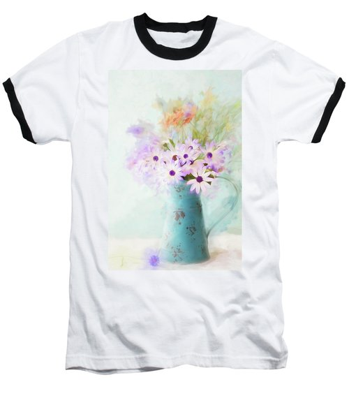 Painterly Spring Daisy Bouquet Baseball T-Shirt