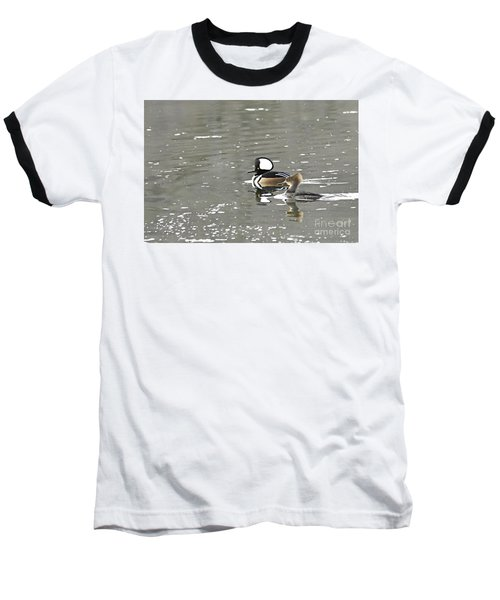 Baseball T-Shirt featuring the photograph Pair Of Hooded Mergansers by Larry Ricker