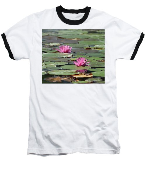 Pair Of Pink Pond Lilies Baseball T-Shirt