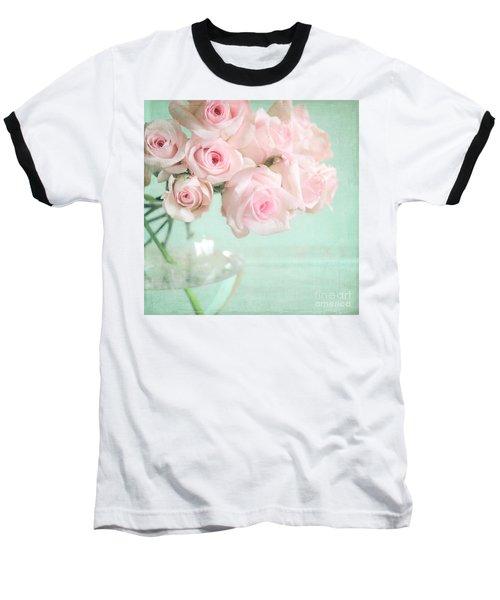 Pale Pink Roses Baseball T-Shirt