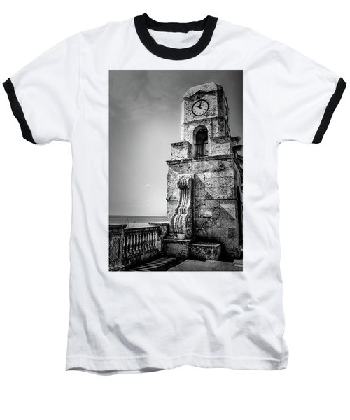 Palm Beach Clock Tower In Black And White Baseball T-Shirt