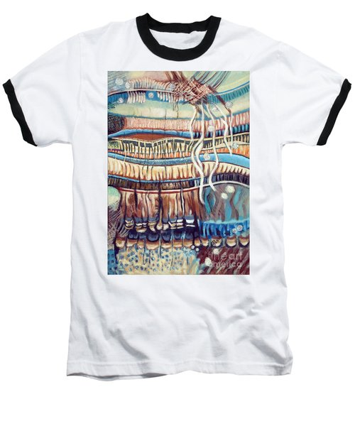 Baseball T-Shirt featuring the painting Palm Contractions by Kerryn Madsen-Pietsch