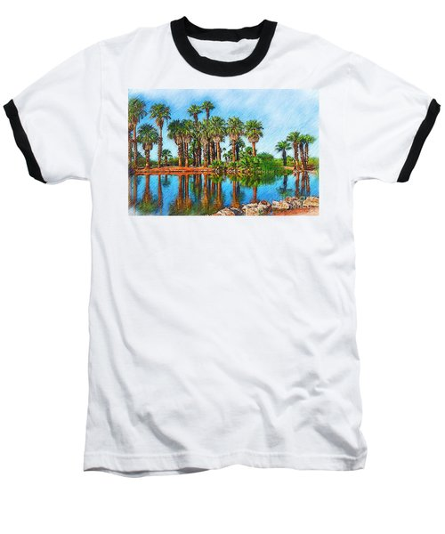 Palm Reflections Sketched Baseball T-Shirt by Kirt Tisdale
