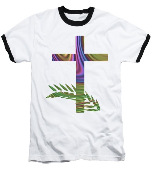 Palm Sunday Cross With Fractal Abstract Baseball T-Shirt