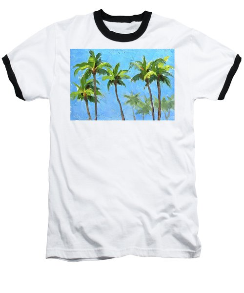 Baseball T-Shirt featuring the painting Palm Tree Plein Air Painting by Karen Whitworth