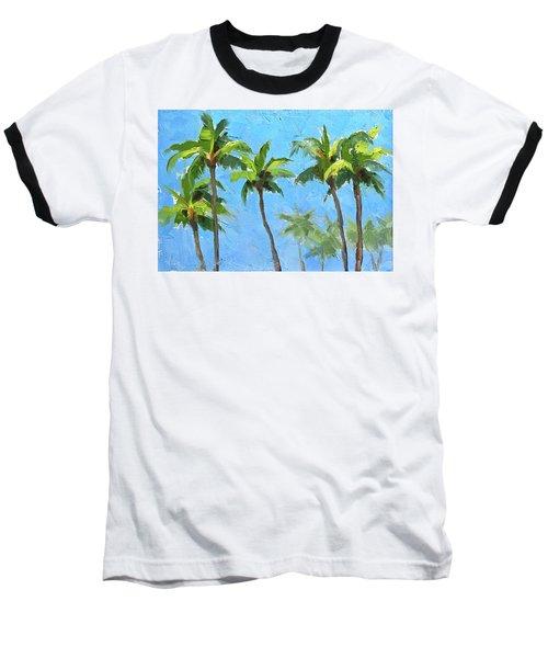 Palm Tree Plein Air Painting Baseball T-Shirt