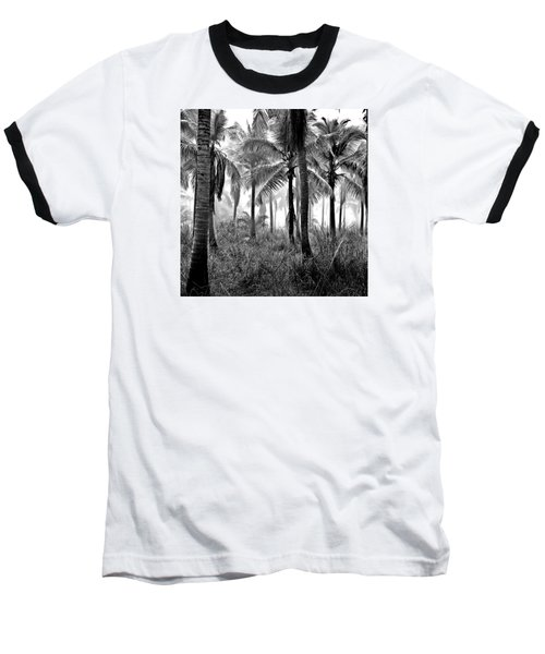 Palm Trees - Black And White Baseball T-Shirt