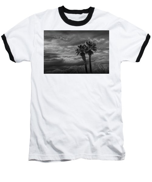 Baseball T-Shirt featuring the photograph Palm Trees By Borrego Springs In Black And White by Randall Nyhof