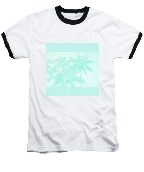 Palm Trees Hawaii Tropical Cyan Baseball T-Shirt