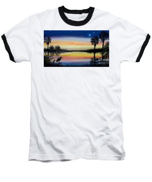 Palmetto Tree And Moon Low Country Sunset Baseball T-Shirt by Patricia L Davidson