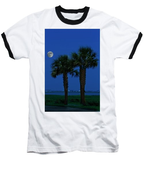 Palms And Moon At Morse Park Baseball T-Shirt by Bill Barber