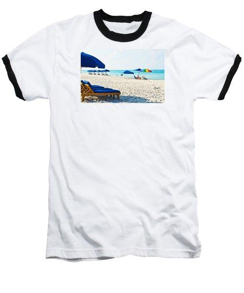 Panama City Beach Florida With Beach Chairs And Umbrellas Baseball T-Shirt by Vizual Studio