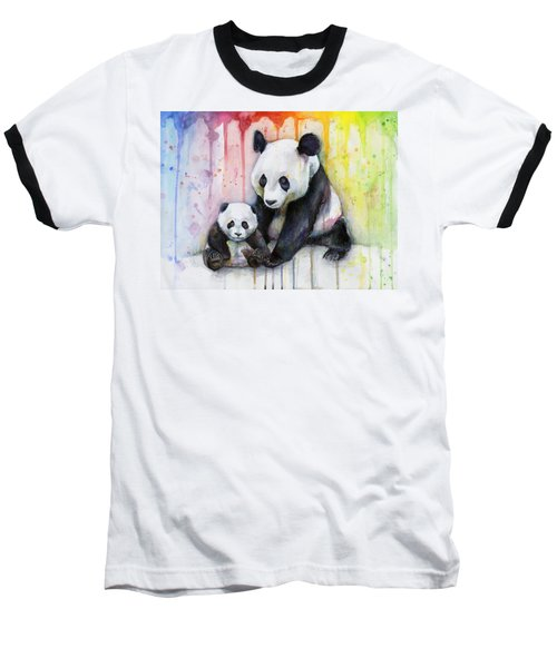 Panda Watercolor Mom And Baby Baseball T-Shirt