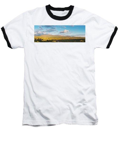 Panorama Of Santa Fe And Sangre De Cristo Mountains - New Mexico Land Of Enchantment Baseball T-Shirt
