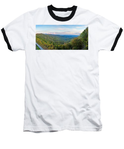 Panoramic October Views Of Smokey Mountain National Park Baseball T-Shirt
