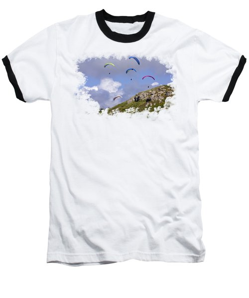 Paragliding Over Sennen Cove On Transparent Background Baseball T-Shirt by Terri Waters
