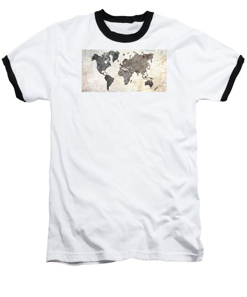 Baseball T-Shirt featuring the digital art Parchment World Map by Douglas Pittman