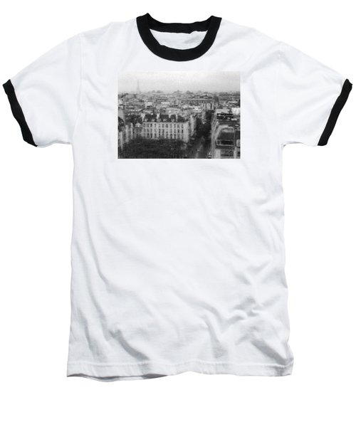 Paris In The Rain  Baseball T-Shirt by Dubi Roman