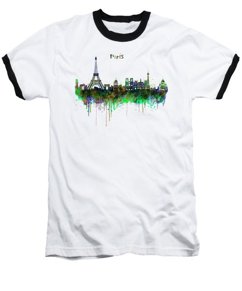 Paris Skyline Watercolor Baseball T-Shirt by Marian Voicu