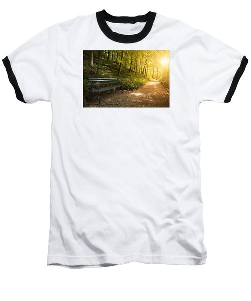 Baseball T-Shirt featuring the photograph Park Bench In Fall by Chevy Fleet