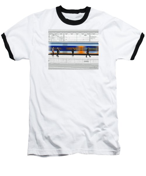Passing Train Baseball T-Shirt by Pedro L Gili