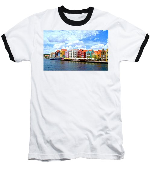 Pastel Building Coastline Of Caribbean Baseball T-Shirt