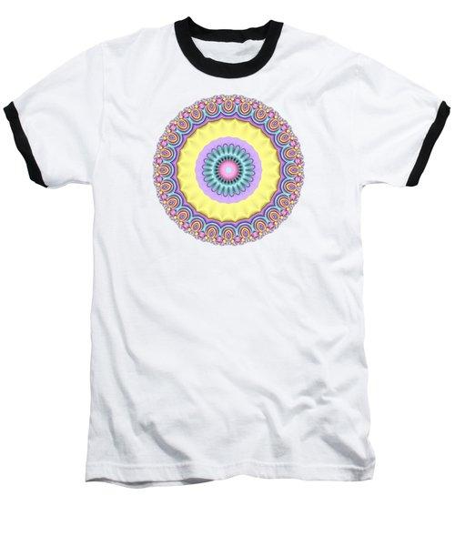 Pastel Peacock Fractal Flower Baseball T-Shirt