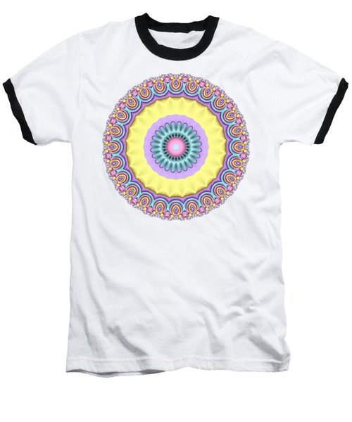 Pastel Peacock Fractal Flower Baseball T-Shirt