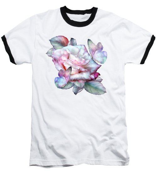 Baseball T-Shirt featuring the mixed media Pastel Rose And Butterflies by Carol Cavalaris