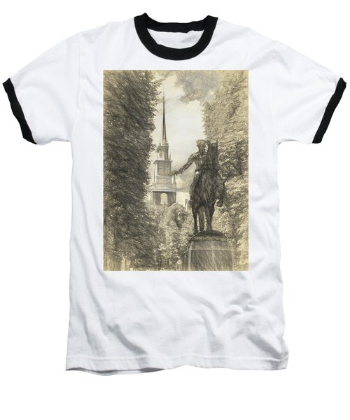 Paul Revere Rides Sketch Baseball T-Shirt