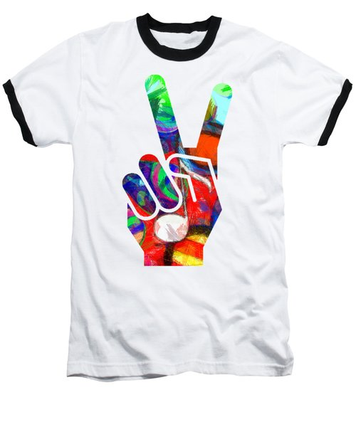 Baseball T-Shirt featuring the digital art Peace Hippy Paint Hand Sign by Edward Fielding