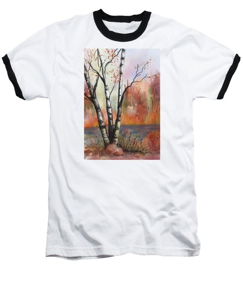 Baseball T-Shirt featuring the painting Peaceful River by Annette Berglund
