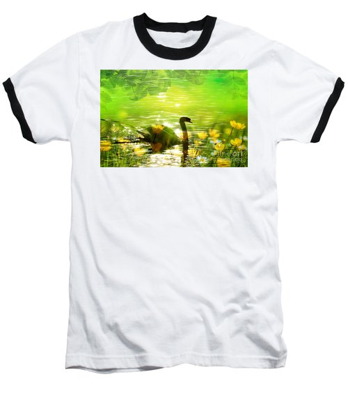 Peaceful Swan In Lake With Flowers Baseball T-Shirt by Annie Zeno