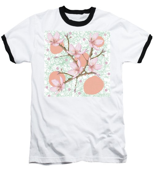 Peach Blossom Pattern Baseball T-Shirt