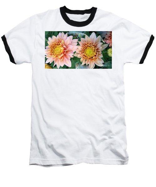 Peachy Chrysanthemums Baseball T-Shirt by Jeannie Rhode