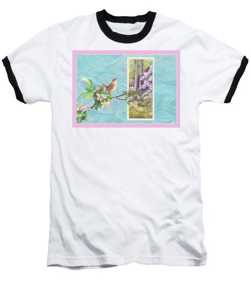 Peacock And Cherry Blossom With Wren Baseball T-Shirt