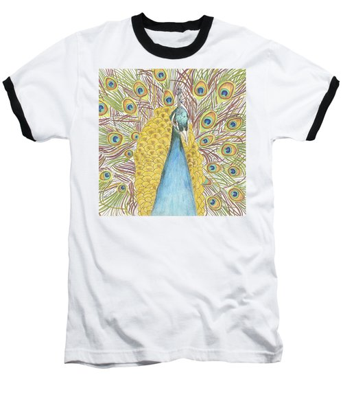 Baseball T-Shirt featuring the drawing Peacock Two by Arlene Crafton
