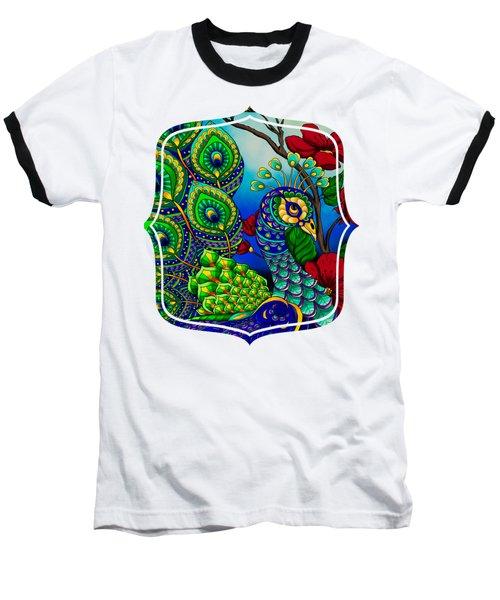 Peacock Zentangle Inspired Art Baseball T-Shirt