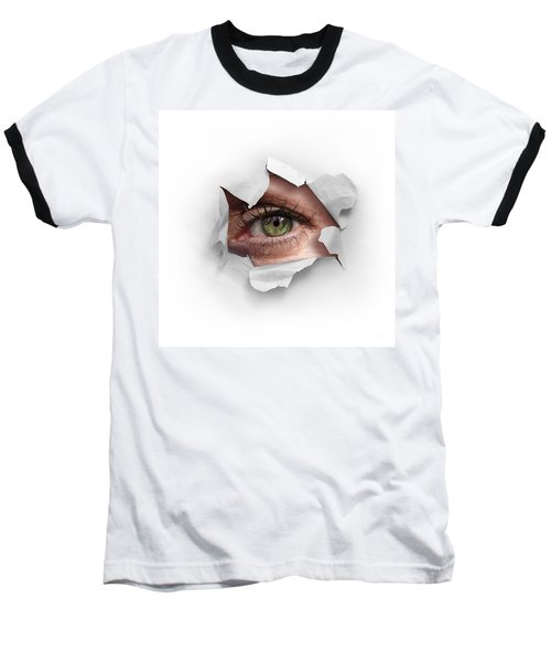 Peek Through A Hole Baseball T-Shirt by Carlos Caetano
