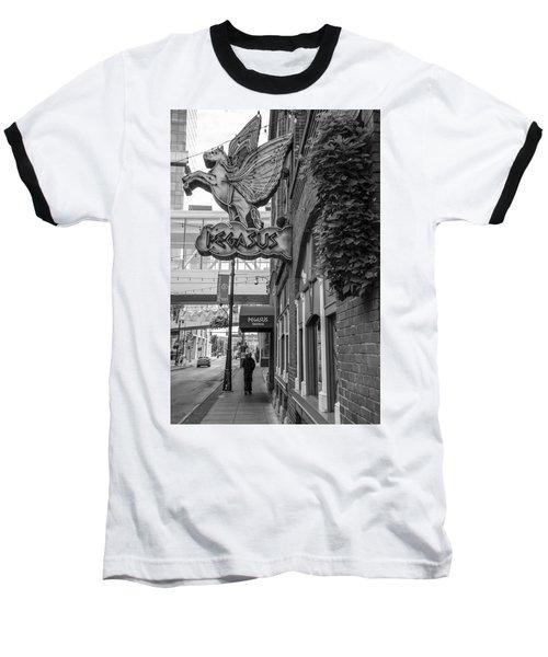 Pegasus In Detroit Black And White  Baseball T-Shirt