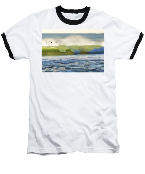 Pelican Flying Over Wind Wave Baseball T-Shirt by John A Rodriguez