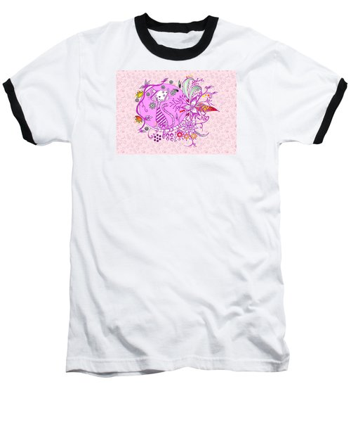 Pen And Ink Colorful Cat Drawing Baseball T-Shirt