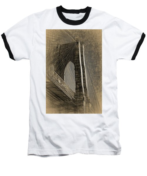Pencil Sketch Of The Brooklyn Bridge Baseball T-Shirt