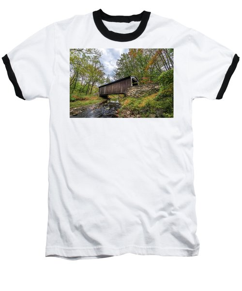 Pennsylvania Covered Bridge In Autumn Baseball T-Shirt