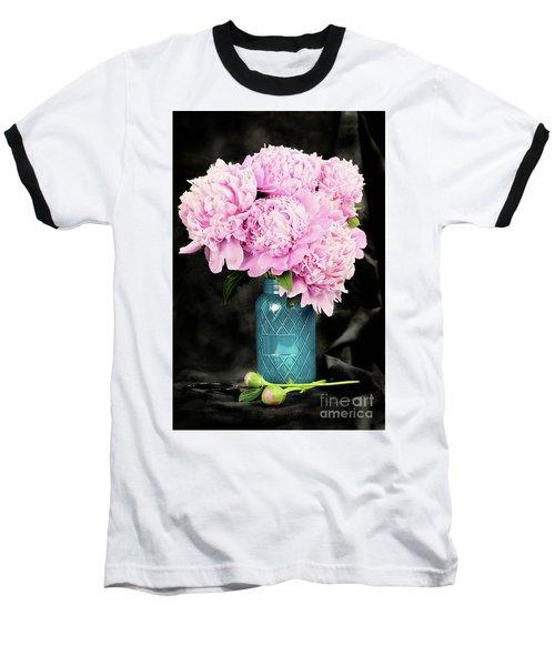 Peonies In A Blue Mason Jar Baseball T-Shirt