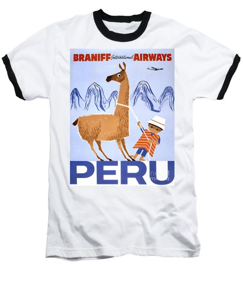 Peru Vintage Travel Poster Restored Baseball T-Shirt by Carsten Reisinger
